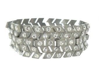 Antique Art Deco Bracelet, Vintage Chevron Wide Rhinestone Link, 1920s Antique Wedding Jewelry, Bridal Jewelry, Art Deco Jewellery