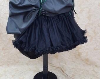 New Year Sale Dark Green Black Shot Steampunk Full Length Bustle Skirt-One Size Fits All