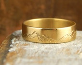 Mountain ring, solid 14k yellow gold band, 6 mm wide x 1.5 mm thick, engraved mountains, custom mountains available for additional charge.