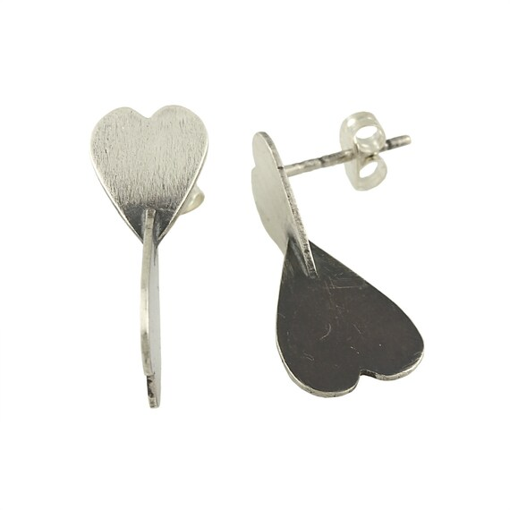 Two-Tone 3-Dimensional Heart Studs