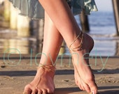 Anniversary SALE LOVMELY GOLD draped Barefoot sandal /anklet- gold chain foot anklet / Bohemian foot chain/ boho / body jewelry / foot chain