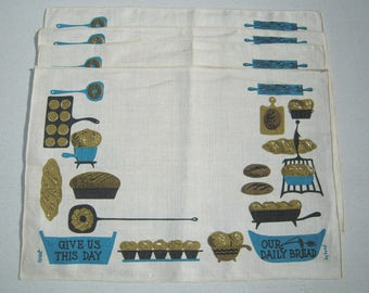 Vintage Mid Century Placemat Set of 4 Give Us Our Daily Bread Signed