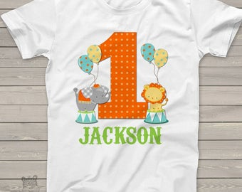 circus 1st birthday shirt - circus elephant lion theme birthday party shirt MBD-017