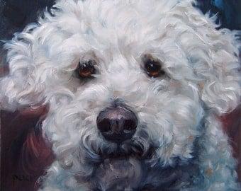 """MiniPoo Pet Portrait, CUSTOM Pet Portrait Oil Painting by puci, 8x8"""""""