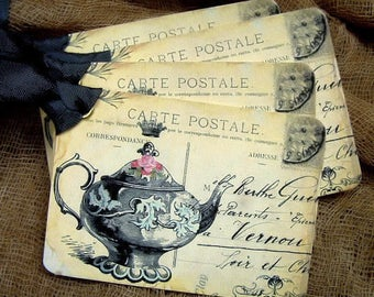 Vintage Style Tea Time Teapot Postcard Gift or Scrapbook Tags or Magnet #47