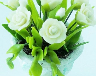 Miniature Flowers Polymer Clay Supplies for Dollhouse Pure White Roses 1 pcs