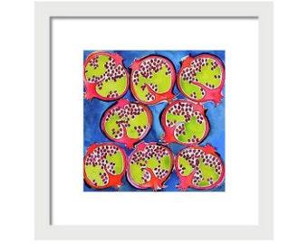 Pomegranate Watercolor Art Print, Wall Art, Home Decor, Fruit Print, Giclee Print, Kitchen Art, Pomegranate Giclee Prints