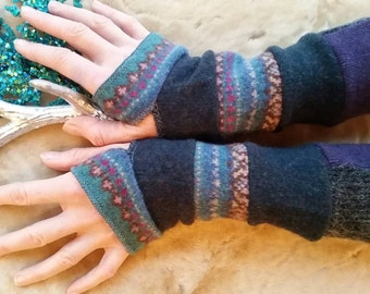 Teal and purple woolen arm warmers fingerless gloves Christmas gift