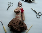 Folk art doll, paperclay doll, ooak doll with Red Cross patch, art doll