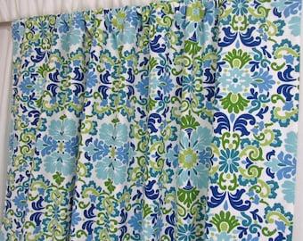 Blue Damask Curtains, Boho Window Curtains, Teal Curtain Panels, Bright  Custom Drapes,