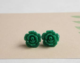 Dainty Rose Stud Earrings - Green