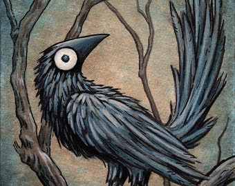"Signed and matted print of original Black Bird watercolour painting by Eden Bachelder, 5"" x 7"" image in 8"" x 10"" mat"