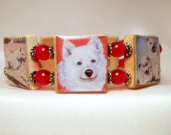 SAMOYED Gift - SCRABBLE BRACELET / Upcycled Handmade Jewelry / Dog Lover Gift / Jewellry