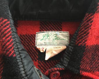 DRY CLEANED Authentic Vintage Womens LL Bean Red Black Buffalo Check Wool Guide Shirt Lumberjack Plaid