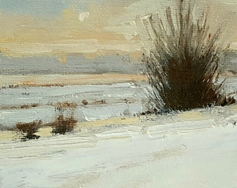 First Snow | Oil Painting | 6 x 6