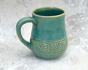 Second- Hand Carved Aqua Mug