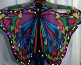RAINBOW Butterfly LED Dance wings premade ready to ship