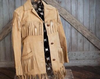 Suede fringe jacket, Womens S/M