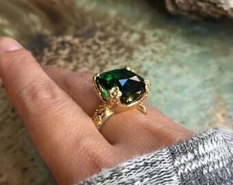 Green quartz ring, Gold ring, Gemstone ring, flower prongs ring, Forest Green ring, cushion cut Ring, statement ring- Hello spring RK2272-5