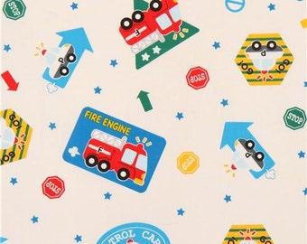 207113 light cream cute colorful fire engine police car fabric