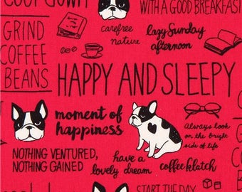 214012 magenta Canvas fabric dog word text Kokka Japan