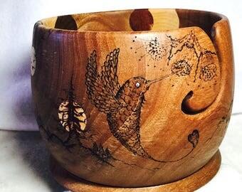"""DREAMY KNITS"""", avocado wood yarn bowl"""