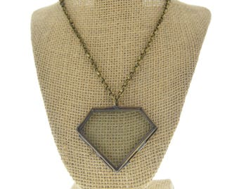 Locket Necklac diamon  Vintage brass--Our Glass Frame Pendant, with chain , sold by each