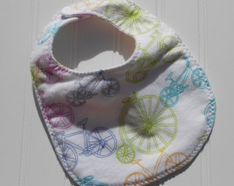 READY TO SHIP 100% cotton flannel baby bib - bike / bicycle print