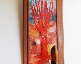 1950s abstract expressionism art painting / tall mid century tree painting / signed landscape  wall art