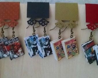 Mini Manga Book Earrings - Handmade Book Jewelry - Handmade Anime Book Earrings - Book Jewelry - Handmade Mini Manga Book Earrings - Anime