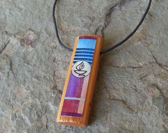 Colorful Flaming Chalice - Bamboo Pendant Necklace