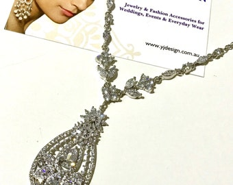 Statement Bridal Necklace, Hollywood Glamour Bridal Jewelry, Vintage Wedding Necklace, Cubic Zirconia Cz Drop Necklace, Gift for Her STARLET