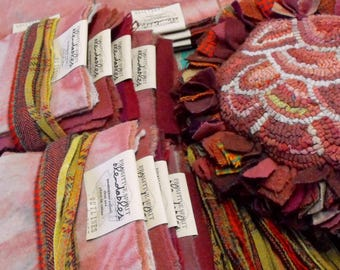 Red and Pink Wools for Rosebud Flower Pillow for rug hooking with a prodded fringe//Limited Edition uncut kit//pillow backing wool option