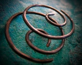 Free Shipping Item. Small Hoop Earrings. MINNIER. spiral swirl hoops. Hammered texture . 18 gauge oxidized solid copper