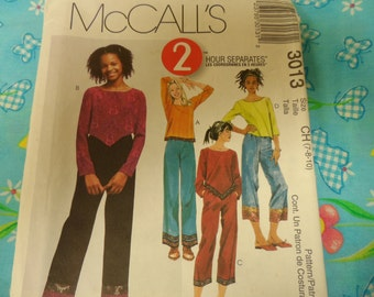 McCalls 3013 Girls Top Shirt  Pants Pattern sizes 7 8 10 UnCut