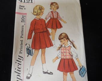 Simplicity 4121 Girls 4 Piece Wardrobe Jacket, pleated skirt, and blouse, vest. Size 4                   88888888888