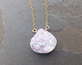 LILAC-14Kt Gold Chain and Druzy Quartz Necklace