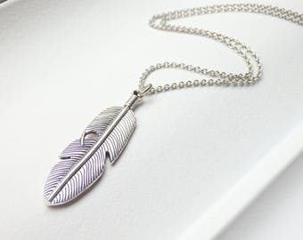 Antique Silver Feather Long Necklace