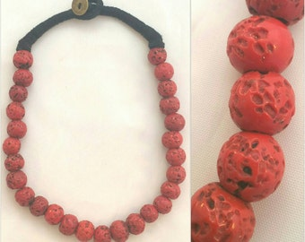 Vintage Trade Beads Red Lava Necklace // Boho Chic