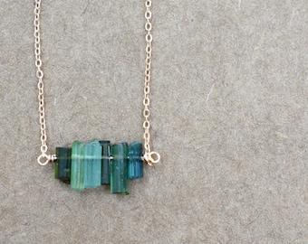 natural dark green tourmaline bar necklace pendant. rose gold  filled chain. natural tourmaline jewelry. tourmaline bar necklace