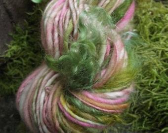 Handspun art yarn, handpainted wool yarn, Polwarth wool and mohair locks  -EASTER BASKET