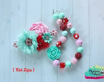 Valentine chunky necklace or baby headband set { Red Lips } teal, aqua, pink, red valentine, Birthday cake smash photography prop