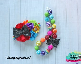 St Patricks Day necklace or baby headband set { Lucky Leprechaun } , rainbow, black, St Patricks Day, Birthday cake smash photography prop
