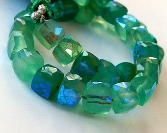 Onyx Gemstone. Semi Precious Gemstone Bead. Faceted Green Onyx Square Cubes. AB Finish. 6.5mm   (aonx)