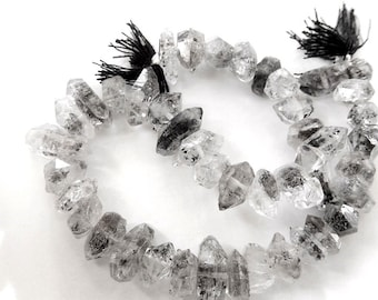 "Herkimer Diamonds, Double Terminated Center Drilled, Gemstone Nuggets. Semi Precious Gemstone. Small 6-7mm, 1"",  2"" or 4"" Strands. (bhk)"
