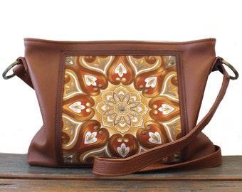 La Scala Tan Boho Leather Handbag, Crossbody Bag