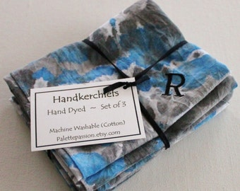 Hand Dyed Handkerchiefs - Mens Cotton Hankies - Set of 3 - Monogram R Black Royal Blue Cobalt Gray Grey Tie Dye Handkerchief Pocket Square