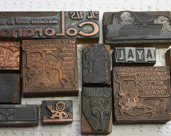 Vintage PRINTING BLOCK Collection (12) Wooden Printer Block Lot- Copper- Newspaper Printing- Advertising Decor- Printer's Tray- L12