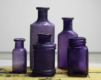 PURPLE BOTTLES- Amethyst Glass- Antique Lot of Small Bottles-Instant Collection- Inkwell- Medicine Bottle- B36