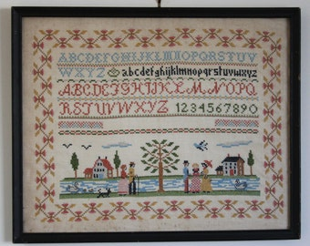 Antique SAMPLER- Vintage Needlepoint- Cross stitch Embroidery- Alphabet- Needlework- Primitive Scene